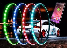 Moderní Bluetooth kruhové LED neony Multicolor určené pro montáž do kol - dálkově ovládané aplikací z telefonu