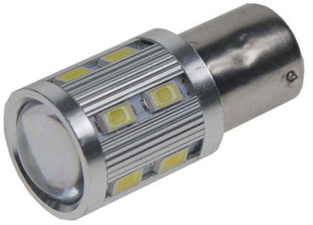 LED žárovka 12V s paticí BA15S (symetrická), bílá, 12SMD Samsung + 3W Osram 10-30V