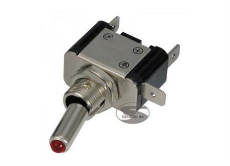 Kovový vypínač stříbrný s červenou LED diodou