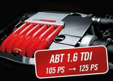 ABT Sportsline zvýšení výkonu pro VW Touran (1T1) 08/10-, 1,6 TDI z 77 kW (105 k) / 250 Nm na 92 kW (125 k) / 285 Nm