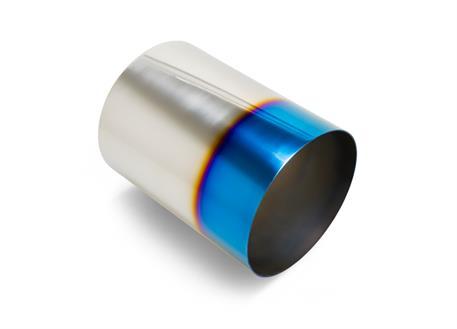 Koncovka výfuku kulatá 114 mm bez pertlu, opálená titan look, pro navaření