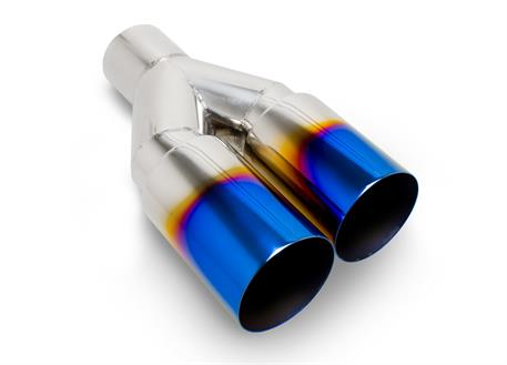 Dvojitá koncovka výfuku, kulatá 2x 76 mm bez pertlu, opálená titan look, pro navaření