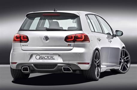 CARACTERE spoiler pod originální zadní nárazník se dvěma výřezy pro sportovní tlumič výfuku pro VW Golf 6