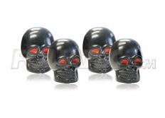 Čepičky ventilků Foliatec - černé lebky s červenýma očima