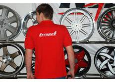 Červené tričko s límečkem s výšivkami Escape6 - výprodej posledních kusů