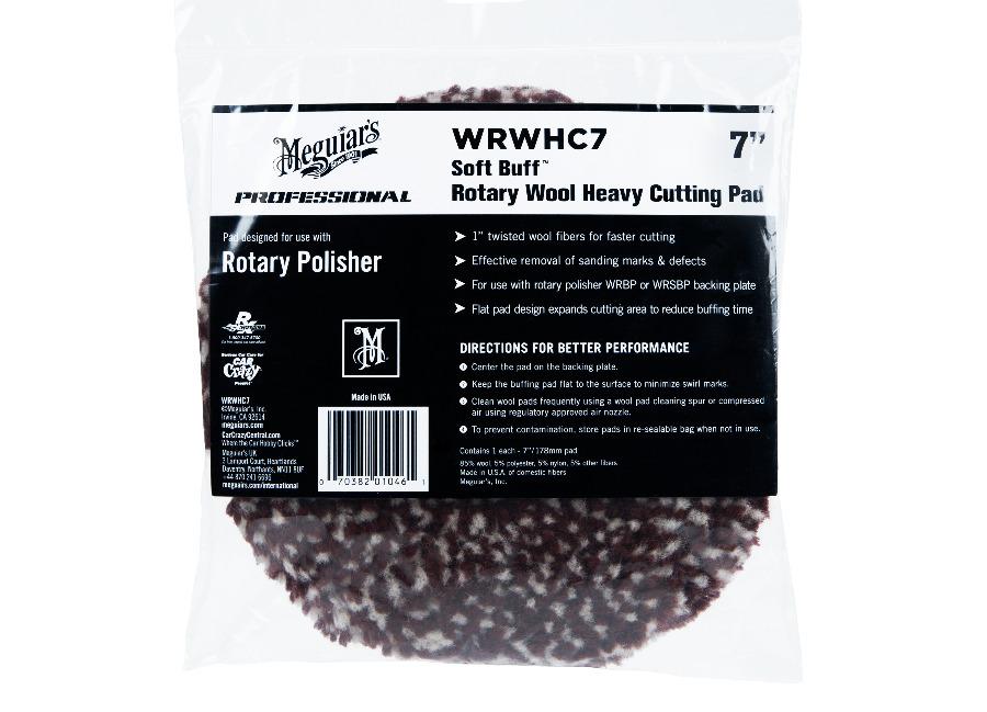 """Meguiar's Rotary Wool Heavy Cutting Pad 7"""" / 175 mm - extra abrazivní vlněný leštící kotouč určený pro rotační leštičku, 7"""""""