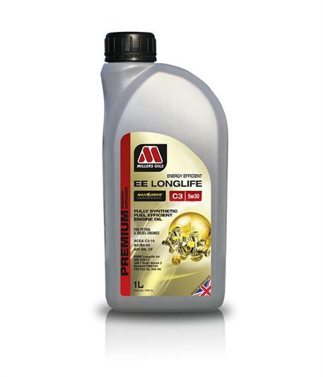 Plně syntetický motorový olej Millers Oils NANODRIVE - EE LONGLIFE C3 5W-30 1l zejména doporučen pro vozy Mercedes-Benz a BMW