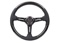 NRG sportovní volant Carbon Fiber s průměrem 350 mm v kombinaci kůže / karbon, se dvěma variantami prošívání