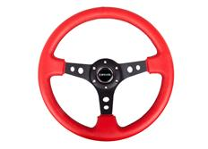NRG sportovní volant Deep dish 350mm, v kombinaci červená kůže / černé prošívání, s/bez středového proužku