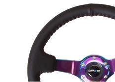 NRG sportovní volant Deep dish 350mm v kombinaci černá kůže / Neochrome, s/bez středového proužku
