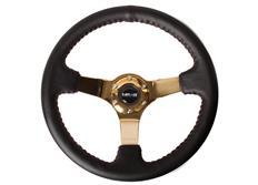 NRG sportovní volant Deep dish 350mm v kombinaci kůže / červené prošívání, s/bez středového proužku