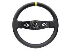 NRG sportovní volant Deep dish 350mm v koženém provedení se žlutým středovým proužkem a středovými šipkami