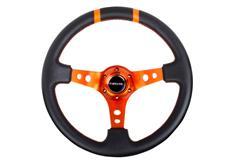 NRG sportovní volant Deep dish 350mm, v různých barevných provedeních, se dvěma středovými proužky, kožený