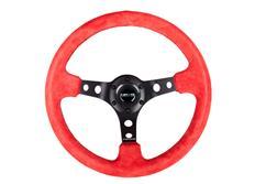 NRG sportovní volant Deep dish 350mm, v kombinaci červený semiš / černé prošívání