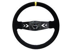 NRG sportovní volant Deep dish 350mm v semišovém provedení se žlutým středovým proužkem a středovými šipkami