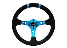 NRG sportovní volant Deep dish 350mm, v různých barevných provedeních, se dvěma středovými proužky, semišový