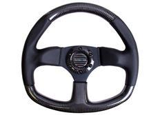 NRG sportovní volant Flatt Bottom s průměrem 320mm, v kombinaci karbon / kůže s černým prošíváním