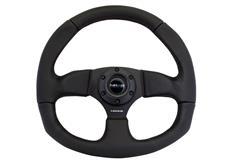 NRG sportovní volant Flatt Bottom s průměrem 320x330mm, kožený s různými barvami prošívání a plochou spodní částí volantu
