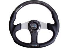 NRG sportovní volant Flatt Bottom s průměrem 350mm, v kombinaci karbon / černá kůže v několika barevných provedeních