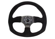 NRG sportovní volant New Age s průměrem 320x330mm, semišový s různými barvami prošívání a plochou spodní částí volantu