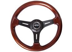 NRG sportovní volant Vintage Wood s průměrem 330 mm, tmavé dřevo s černým matným středem