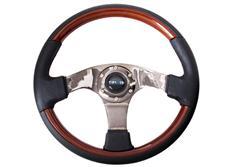 NRG sportovní volant Vintage Wood s průměrem 350 mm, v kombinaci dřevo / kůže, ve dvou variantách barvy středu