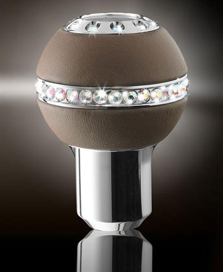Isotta luxusní hlavice řadicí páky Keplero - hnědá kůže vysázená krystaly Swarowski