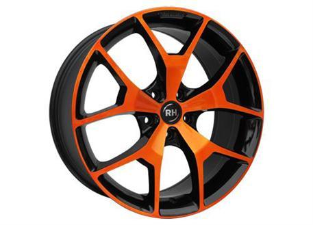 Alu kolo RH BZ Agrano, 8,5x19 5x112 ET35, černé s oranžovou čelní plochou