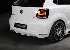 Rieger tuning spoiler pod originální zadní nárazník s dvojitou koncovkou na levé straně pro Volkswagen Polo VI GTI (6R) 3/5-dvéř. před faceliftem, r.v. od 05/10-01/14