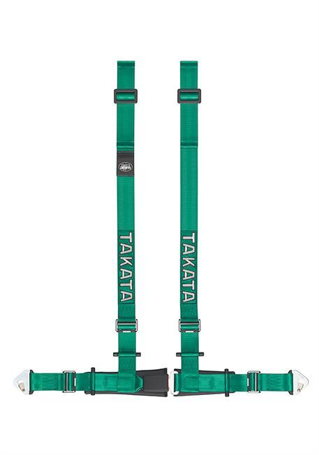 TAKATA 4-bodový sportovní pás Drift II zelený s uchycením na sponu a na rám