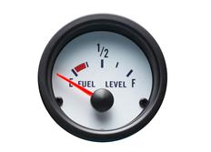 Autogauge palubní přístroj - hladina paliva s bílým podkladem