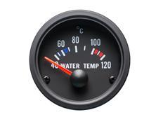Autogauge palubní přístroj - teplota vody s černým podkladem