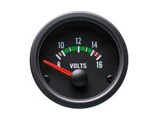 Autogauge palubní přístroj - voltmetr s černým podkladem