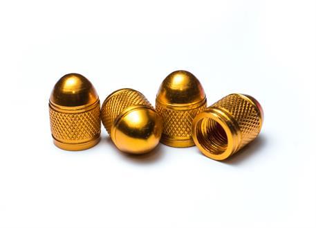 Čepičky ventilků ALU zlaté, 4ks