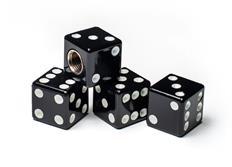 Čepičky ventilků hrací kostky černé, 4ks