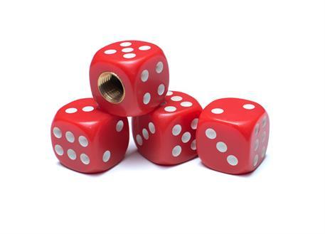 Čepičky ventilků hrací kostky červené, 4ks