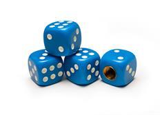 Čepičky ventilků hrací kostky modré, 4ks