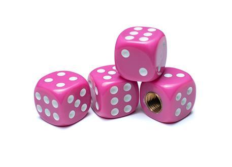Čepičky ventilků hrací kostky růžové, 4ks