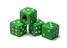 Čepičky ventilků hrací kostky zelené, 4ks