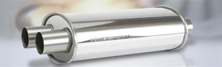 Powersprint koncový tlumič oválný Y, průměr příruby 1 x 50 mm > 2 x 50 mm