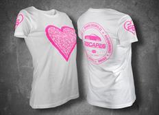Escape6 bílé dámské tričko s růžovým potiskem na hrudi i na zádech
