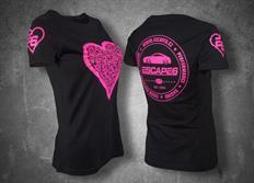 Escape6 černé dámské tričko s růžovým potiskem na hrudi i na zádech