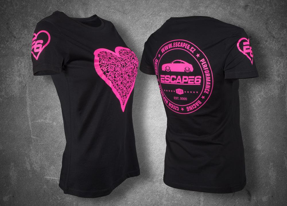 3f08627578b2 Escape6 černé dámské tričko s růžovým potiskem na hrudi i na zádech ...