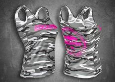 Escape6 dámské tílko s růžovým potiskem na prsou i na zádech - bílo-šedý maskáč