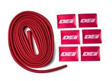 """DEi Design Engineering sada termo izolačního návleku """"Protect-A-Wire"""" délka 2,1 m + 6x koncovka s logem, červená"""