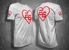 """Escape6 bílé unisexové tričko """"srdce"""" s červeným potiskem na hrudi i na zádech"""