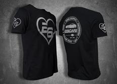 """Escape6 černé unisexové tričko """"srdce"""" s bílým potiskem na hrudi i na zádech"""