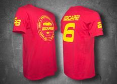 Escape6 červené unisexové tričko se žlutým potiskem na hrudi i na zádech