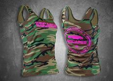 Escape6 dámské tílko s růžovým potiskem na prsou i na zádech - zeleno-hnědý maskáč