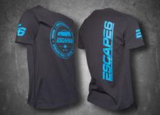 Escape6 šedé unisexové tričko s modrým potiskem na hrudi i na zádech